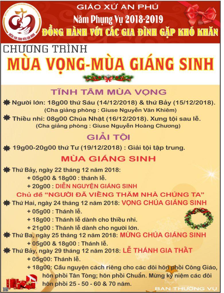 CHƯƠNG TRÌNH MÙA VỌNG & GIÁNG SINH 2018